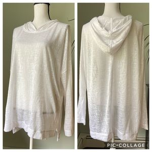 Old navy sheer white hooded top size XL